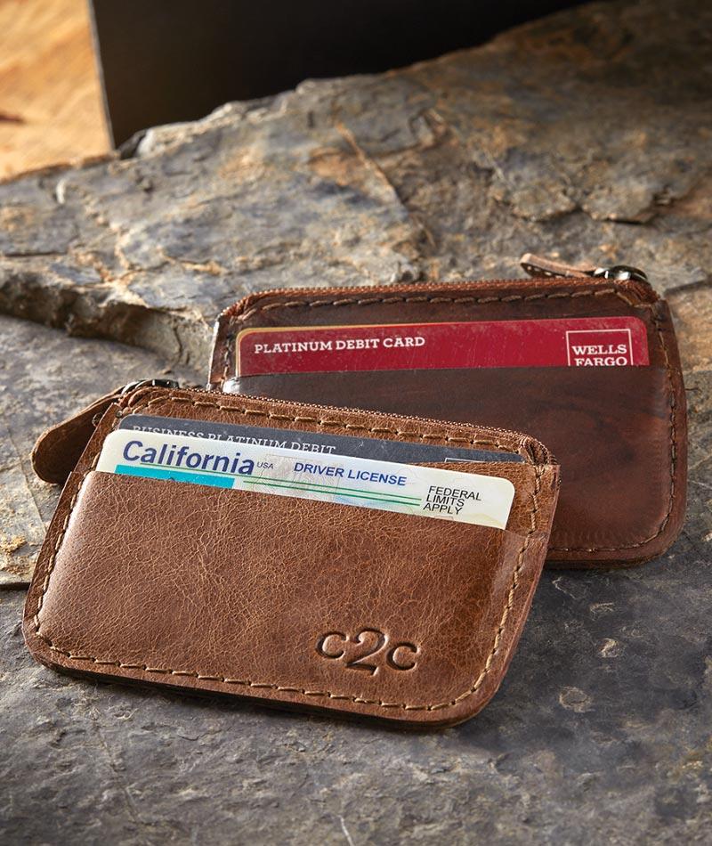 men's simple card holder wallet in fullgrain leather